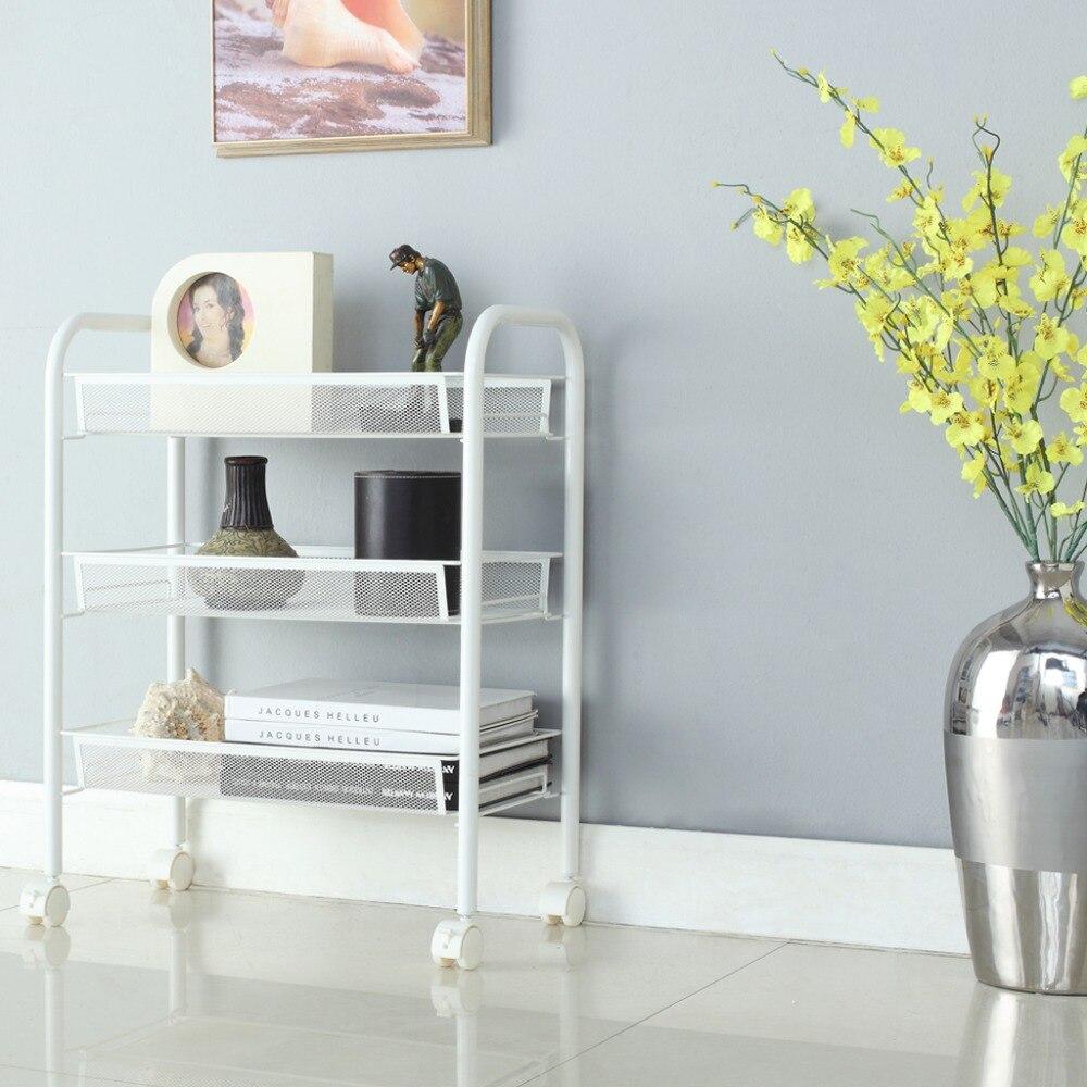 langria 3tier metal mesh rolling cart storage shelving rack for kitchen bedroom bathroom
