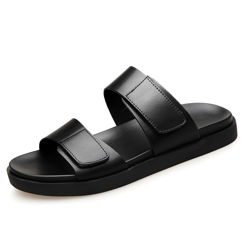 2018 Summer Mens Sandals Leather Simple Black Comfortable Men Beach Shoes Gladiator Open Toed Sandals Men Slippers BH-A0126