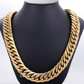 Fashion Gift 19mm Heavy Biker Gold Tone Cut Double Curb Link Rombo Mens Chain Boys 316L Stainless Steel Necklace Jewelry DLHN64