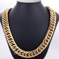 Moda 19 mm pesado Biker tom ouro corte duplo Curb ligação Rombo homens meninos cadeia colar aço inoxidável 316L DLHN64