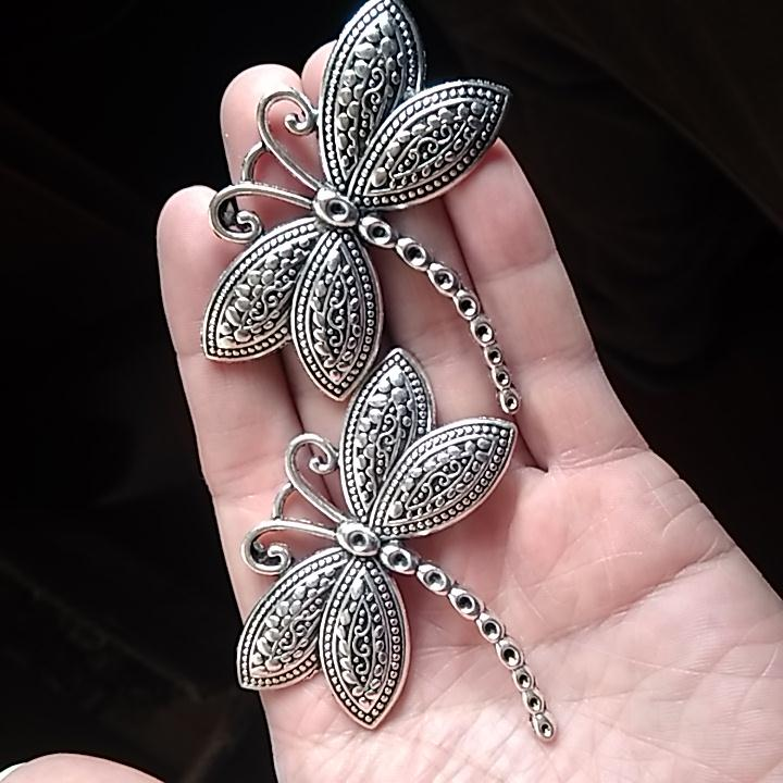 1Pcs big Strong dragonfly Birds flying pattern 60 57mm DIY Retro Silver Jewelry Bracelet Necklace pendant