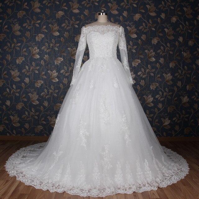 Us 215 0 Vestidos De Noivas 2019 Eenvoudige Glitter Kant Trouwjurken Lange Mouwen Off Shoulder Baljurk Robe De Mariage Bridal Jurk In Vestidos De