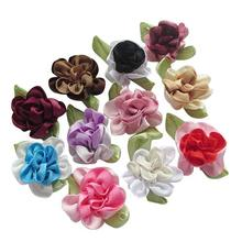 suoja 10pcs/pack ribbon flowers with leaf handmade flowers apparel sewing appliques DIY accessories U PICK suoja