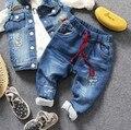 Only calça jeans 1 pc novos 2017 meninos moda primavera buraco calça jeans calça jeans crianças moda primavera outono crianças meninos calça calças