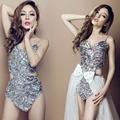 2016 Free Shipping Women Sexy Handmade Female Singer DJ one-piece Stage Dancing Costume sequins Bodysuit Dance Wear Clothing