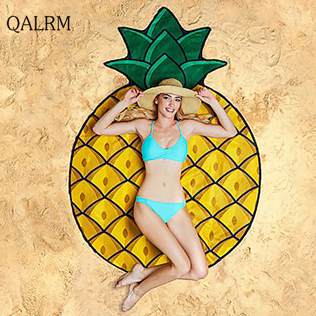 QALRM 2017 Beach Mat Fashion Yellow pineapple Round Beach Towel Adults Children And Baby For Picnic Towel CEILING Plaid Bandana