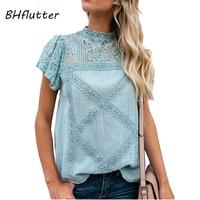 BHflutter хлопок кружево рубашки для мальчиков для женщин Мода 2019 г. O средства ухода за кожей шеи короткий рукав повседневное летние блузки