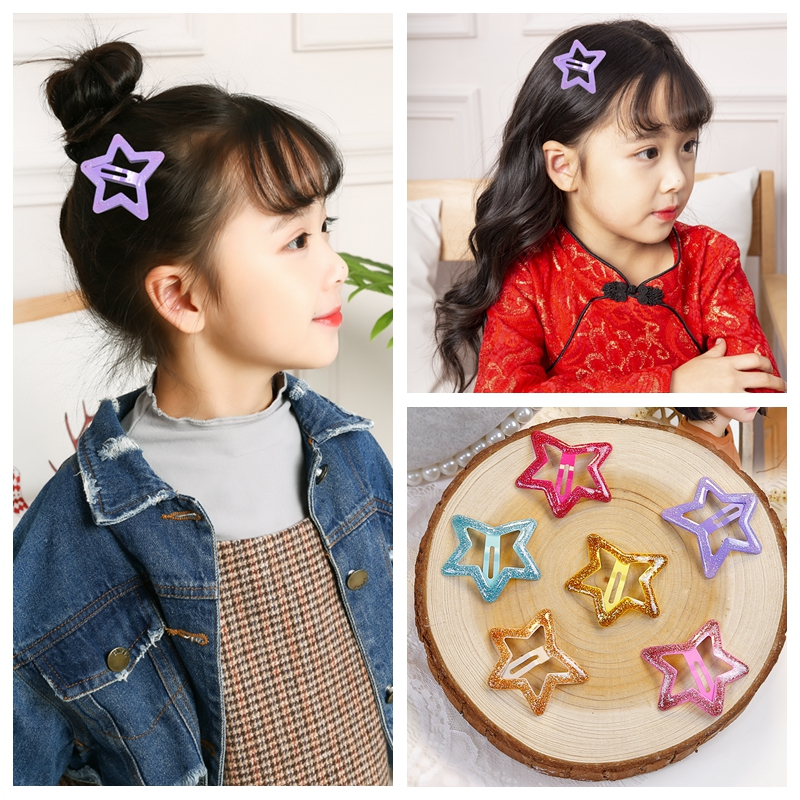 10Pcs//bag Kids girls hair clips glitter hairpins hair barrette metal hairgripsNJ