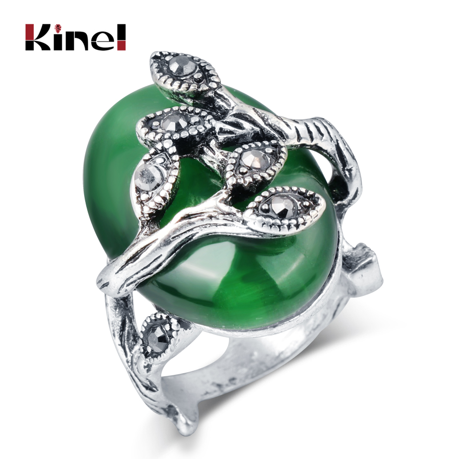 Kinel Hot Vintage Green Oval Ring For Women Austrian Crystal Antique Silver Color Retro Jewelry Natural Stone Ring Party Gift