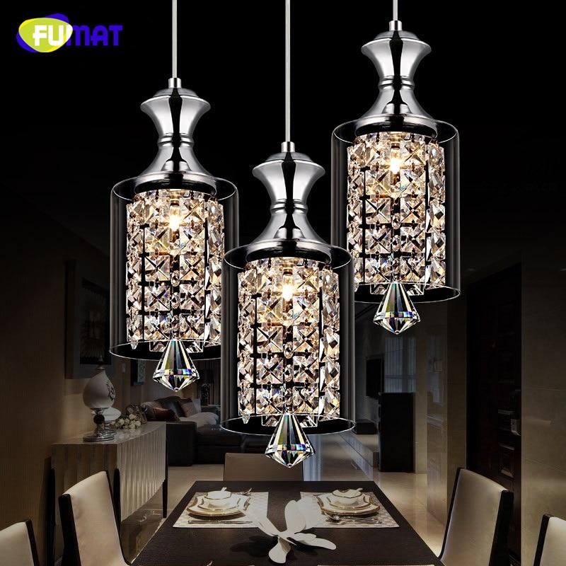 FUMAT LED Crystal Pendant Lamp Bar Dining Room Glass Lampshade Creative Personality Modern Lustre K9 Crystal Pendant Lights
