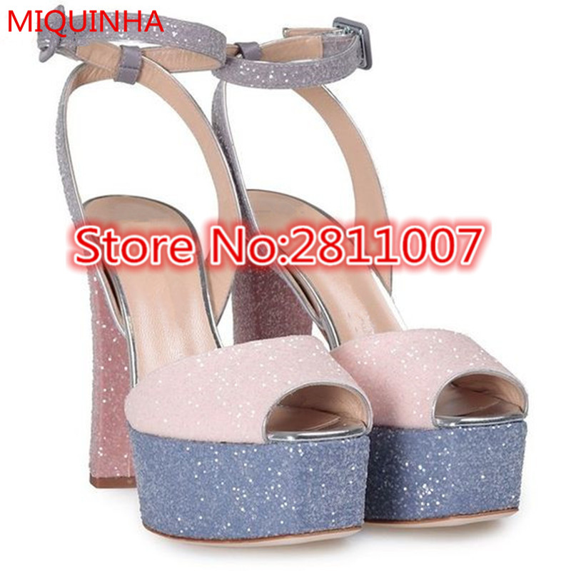 New Multicoloured Leather Betty Glitter High Design font b Women b font Sandals Peep Toe Ankle