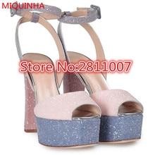 New Multicoloured Leather Betty Glitter High Design Women Sandals Peep Toe Ankle Strap Platform High Block Heel Shoes Woman