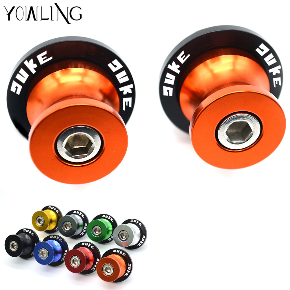 10mm Motorcycle Swingarm Spools Stand Screws Slider Orange For KTM DUKE 125 200 390 DUKE With LOGO M10 2013 2014 2015 2016 2017 for ktm 200 duke 2013 2014 390 duke 2014 2015 2016 motorcycle accessories steering damper stabilizer with mounting bracket kit