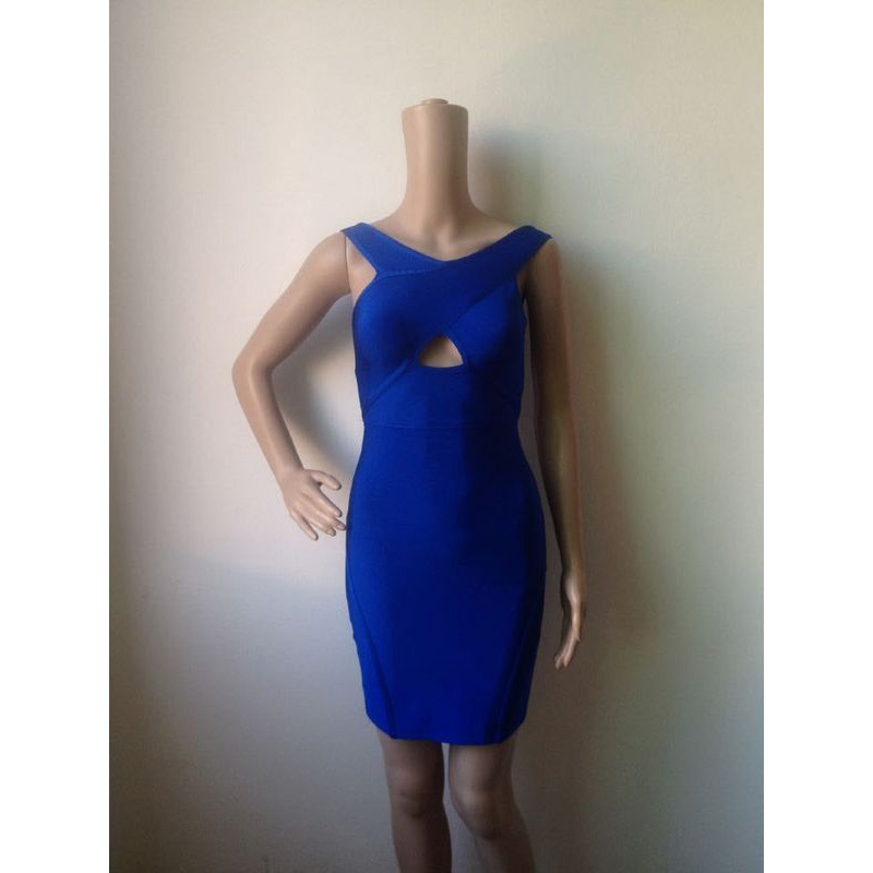 wholesale 2015 Christmas new year eve women blue strap elegant luxury  bodycon sexy midi cocktail party bandage Dress-in Dresses from Women s  Clothing on ... e5e222e35832