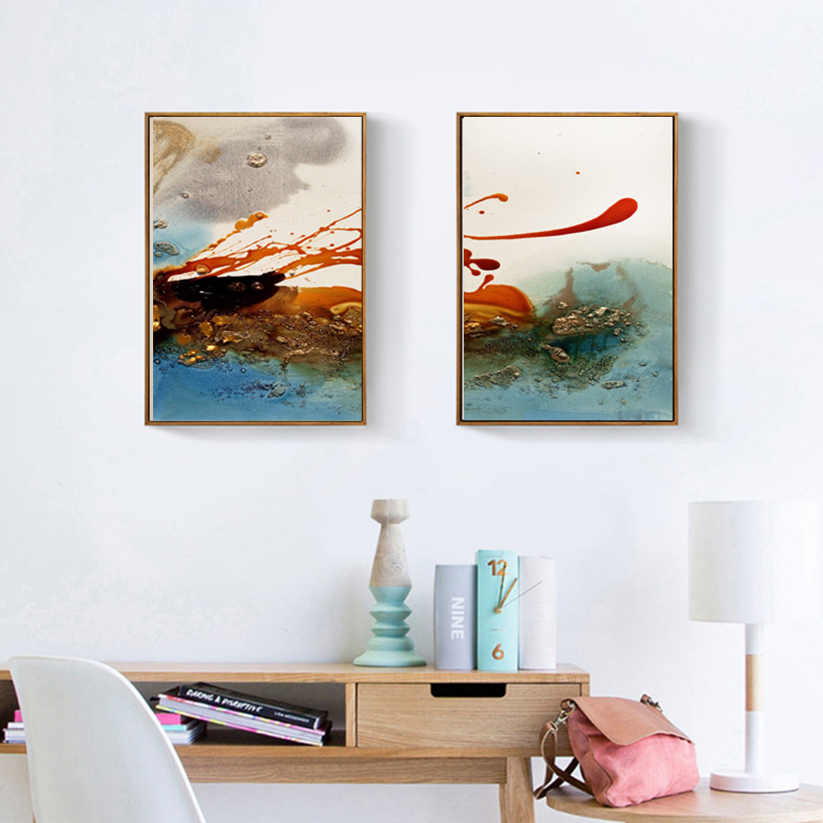 Modern Abstract Clouds Canvas Painting Multi Colors Posters Prints ...