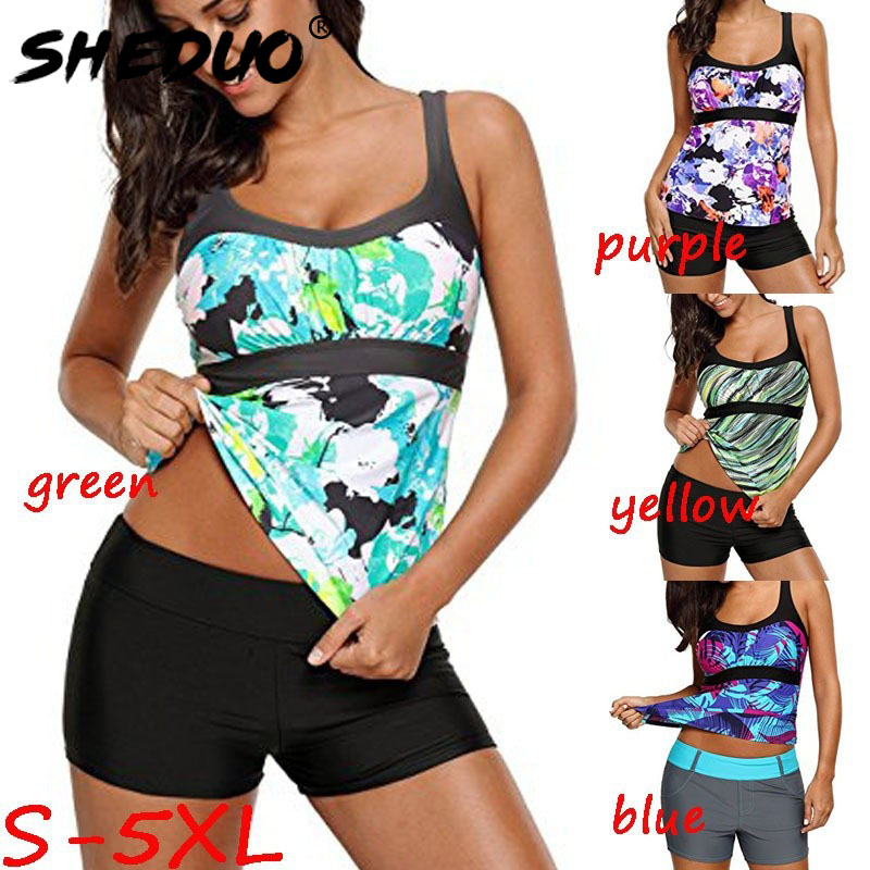 Plus Size Print Floral Swimwear For Women Leopard Tankini Swim Clothes Bathing Suit Sexy Ladies Swimsuits 2019 New