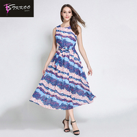 2017 High Quality Brand Women Summer Chiffon Dress Striped Print Mid Calf Dress Beach Boho Dress