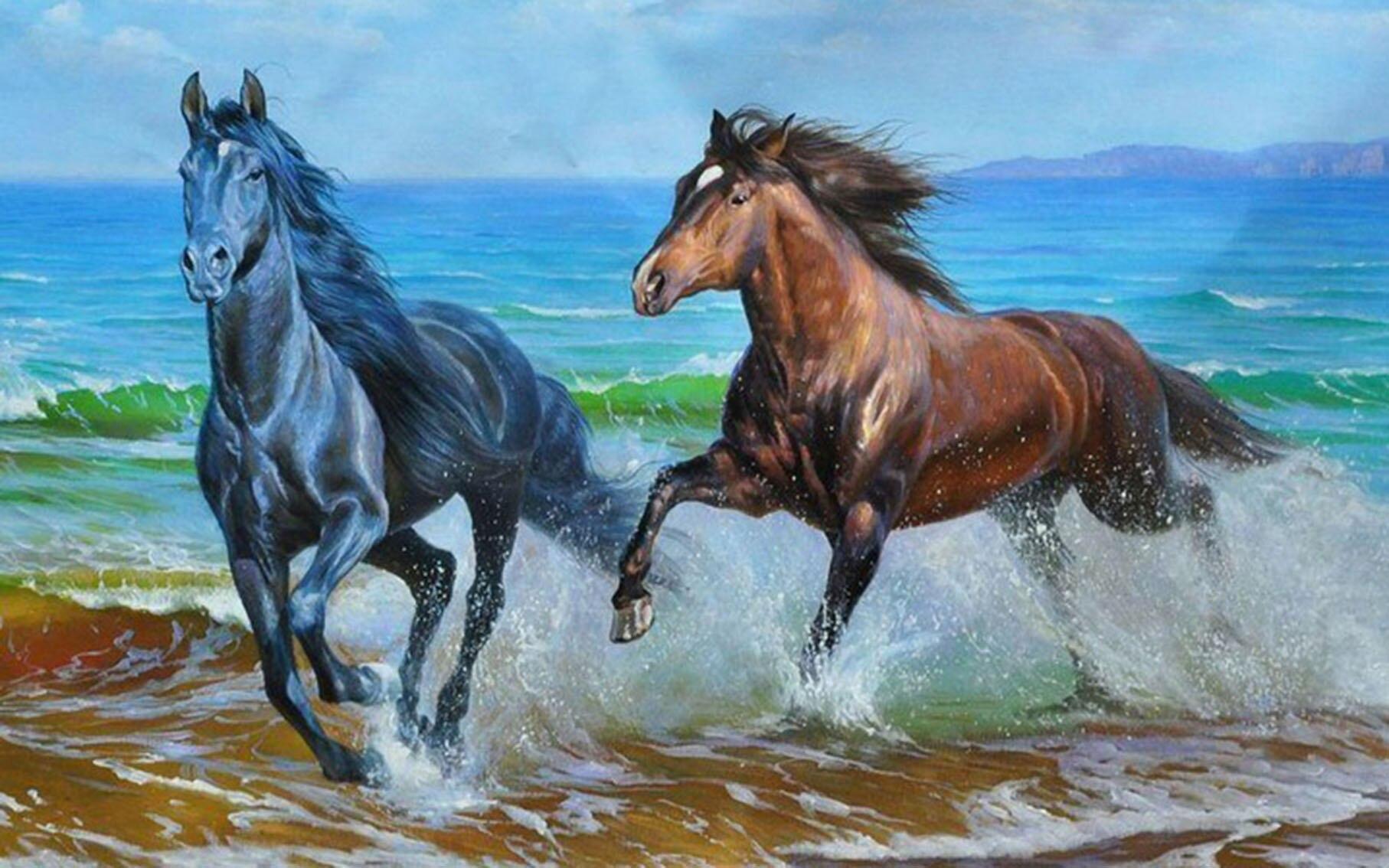 Бегущие лошади крестом вышивка