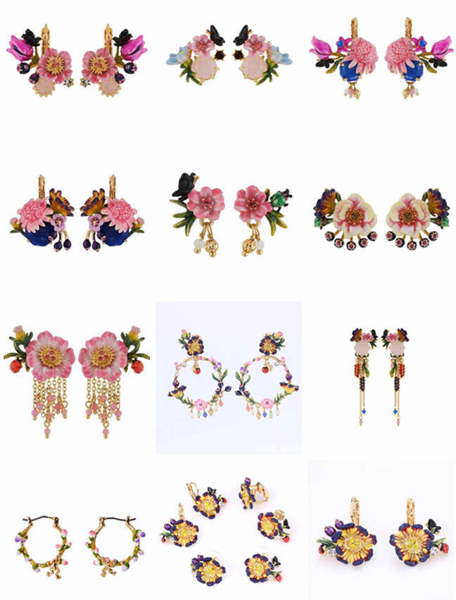 2017 Amybaby Spring Winter Monet Garden Flower Butterfly Tassels Drop Earring Jewelry