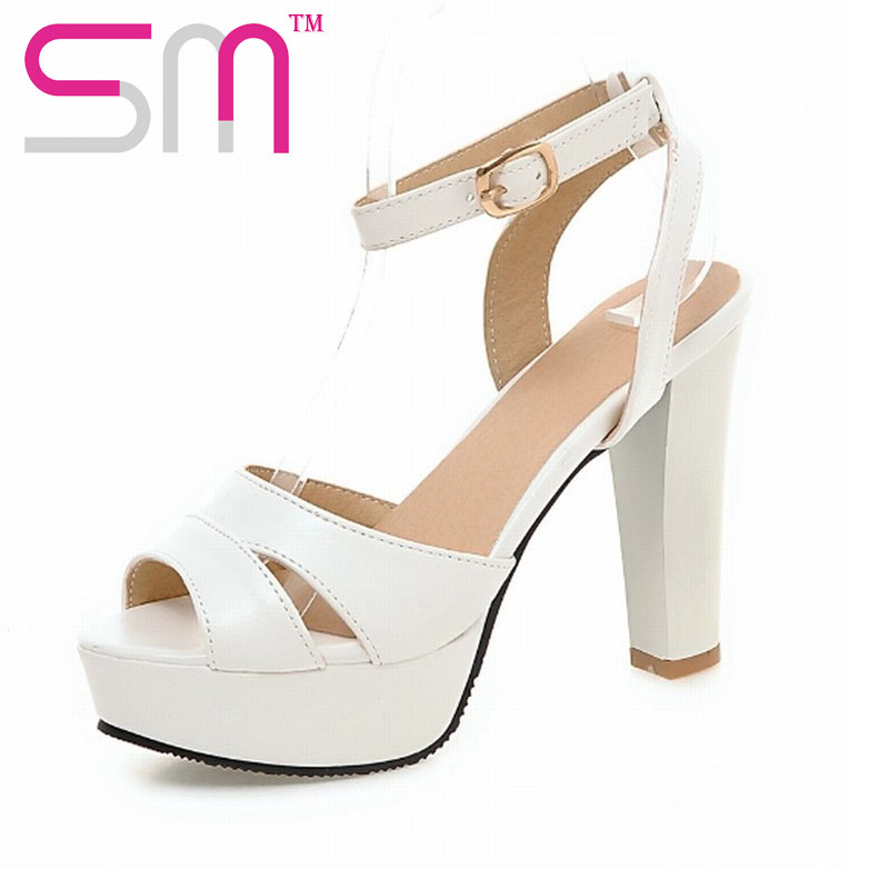 New Arrival Sexy Peep toe font b Women s b font Sandals Cutouts Ankle Strap High