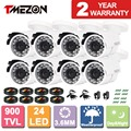 Tmezon 8pack  800TVL 900TVL 1200TVL CCTV Bullet Metal Home Security Surveillance Camera Outdoor Waterproof IR CUT Night Vision