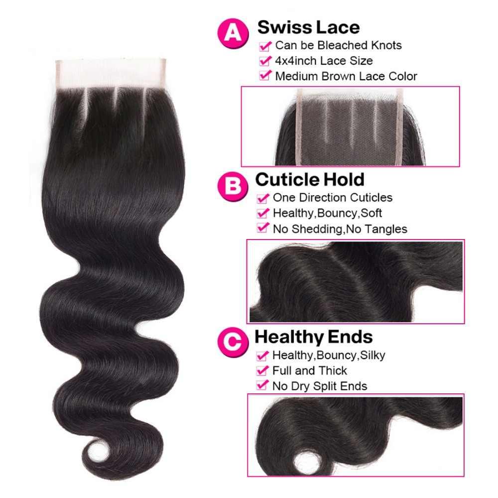 Piaoyi do włosów Remy włosy 3 wiązki z zamknięcie 4x4 ludzkich włosów splot przedłużanie włosów 4 sztuk/partia brazylijski doczepy typu body wave z zamknięcie koronki
