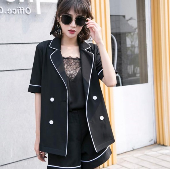 Women Summer 2 Piece Sets Black Blue Ladies Office Wear Designs Formal Shorts Suits Short Sleeve Blazer and Pant Suits For Women