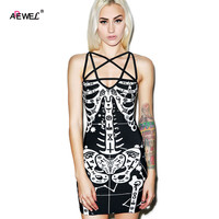 3D Skeleton Print Sexy Summer Dress 2015 Spaghetti Strap Mini Casual Dress Black Club Wear Punk