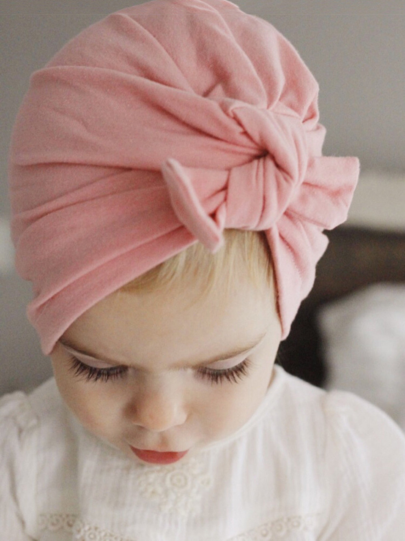 Bayi Baru Lahir Perempuan Manis Bunga Besar Topi Katun Lembut Baby Bunny Hat Kupluk Anak 6 24 Bulan  Lucu Magenta Merah Red Pink Peach Simpul Musim Gugur Dingin Kepala Wrap Laki