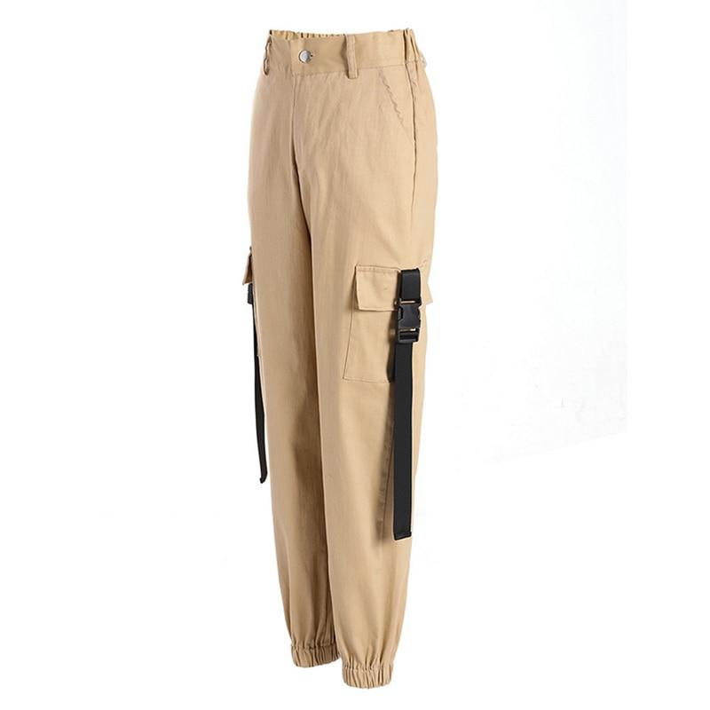 ADISPUTENT Streetwear Cargo Pants Women Casual Joggers Black High Waist Loose Female Trousers Korean Style Ladies Pants Capri 16