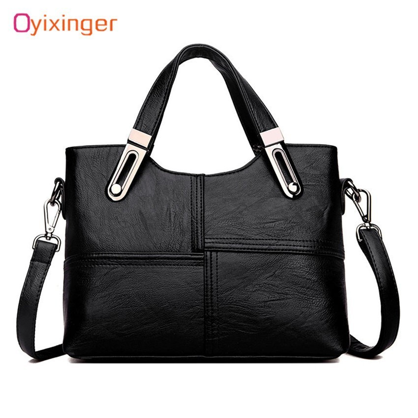 OYIXINGER Fashion Women Genuine Leather Handbags OL Style Tote Bag Ladies Shoulder Bags Patchwork Women Messenger Bags Wholesale