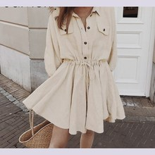 Vintage Solid Lantern Sleeve Short Mini Dress Turndown Collar Lace Up Linen Dresses Button Spring Casual Women Dress turndown collar checked linen shirt