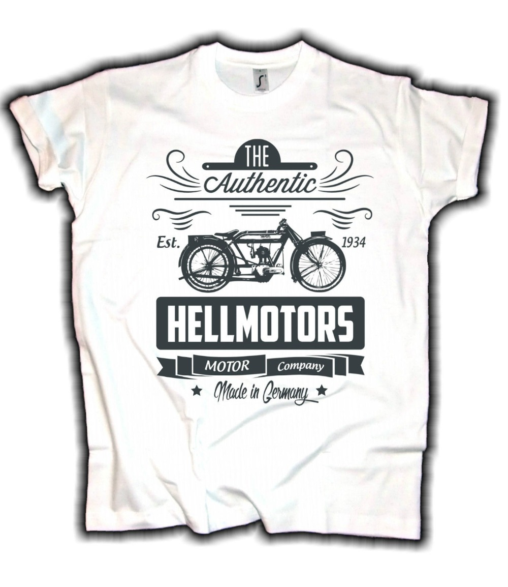 Hell Motors Authentic Old School Biker <font><b>Bsa</b></font> Norton Old Timer Awo Motorrad 2019 Fashion Men Hot Sale Men Fashion Cool <font><b>Shirts</b></font> image
