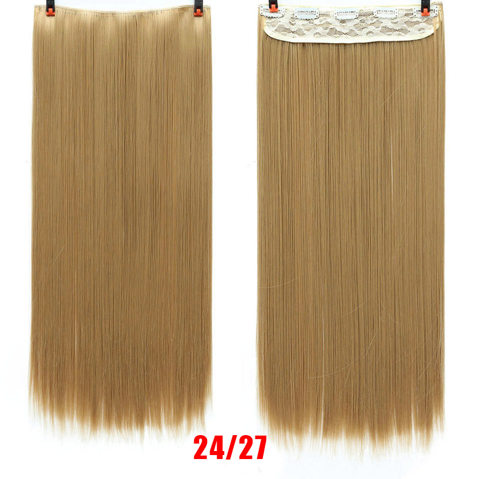 SHANGKE волосы 24 ''длинные прямые женские волосы на заколках для наращивания черный коричневый высокая температура Синтетические волосы кусок - Цвет: 1B/27HL