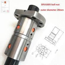 DFU1605 RMU1605 шариковый винт двойная гайка 16 мм шариковый винт гайка ЧПУ DIY резьба машина запчасти