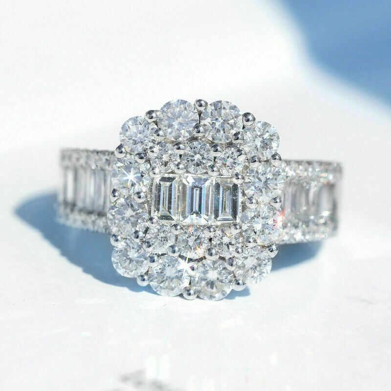 หรูหราแหวนเงิน 925 T รูปร่าง AAAAA Sona CZ งานแต่งงานแหวนสำหรับเจ้าสาวเครื่องประดับ