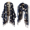 New Designer Scarf 200*65cm Wool Winter Scarf Women Scarves Five-Pointed Star Blanket Long Cashmere Scarf shawls For moman