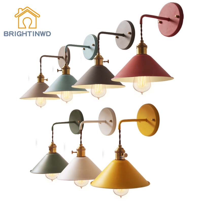 BRIGHTINWD Antique Wrought Iron Simple Macaron Wall Lamp Nordic Modern Living Room Study Dining Room Corridor Aisle Wall Lamp