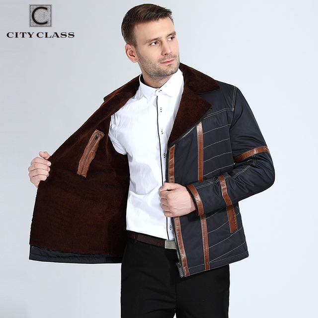 CITY CLASS New Thick Warm Winter Jacket Men Overcoat Fashion Nick Sheared Sheep Skin Suit Collar With Leather blue 14-310(G)