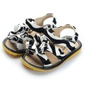 Baby Girl Fashion Sanndals Squeaky Sandals Zebra Printing Flower Toddler Sandals 1-2-3Y