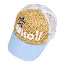 8b79e00e38334 Child Baseball Cap Summer Mesh Patchwork Unisex Kid Chapeau Adjustable  Snapback Baseball Hat Letter Star Design