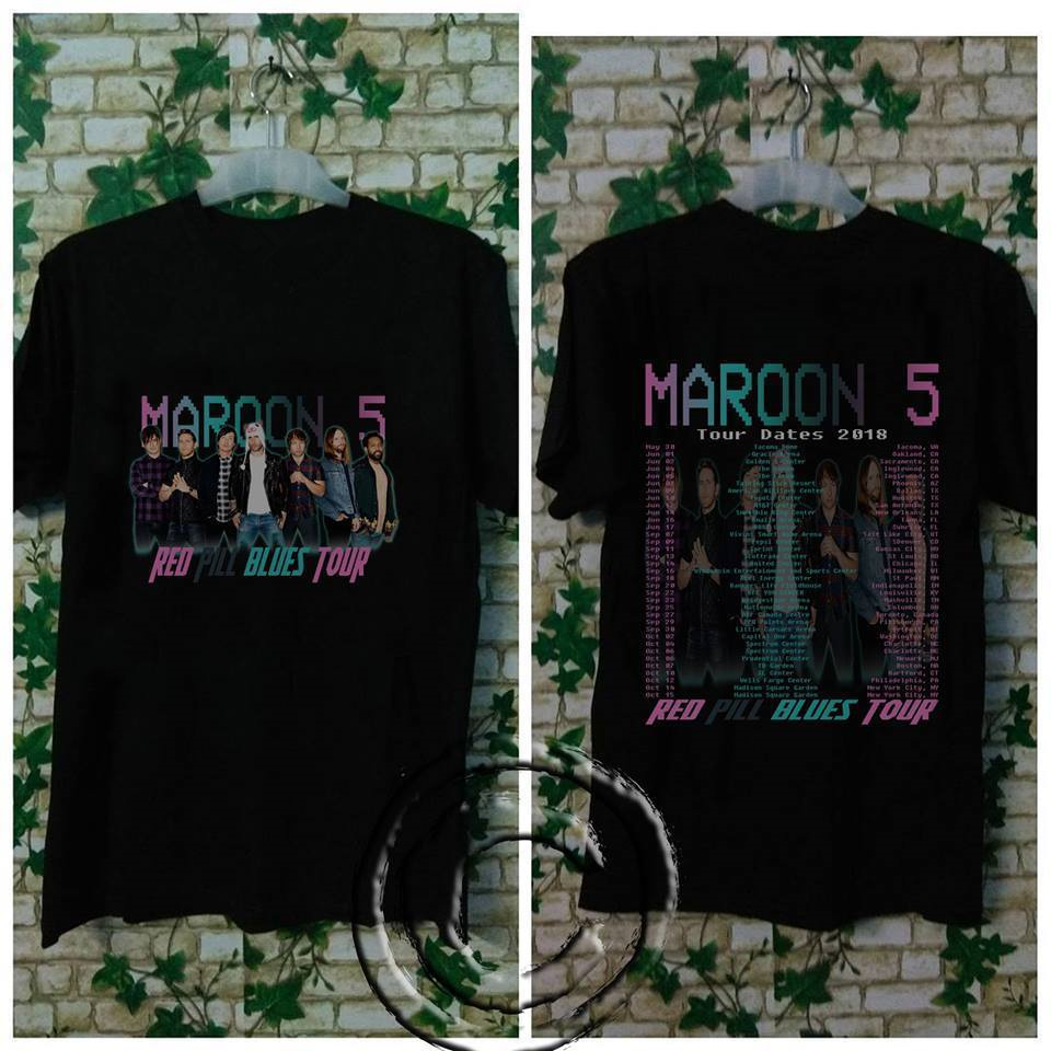 Custom Printed Shirts Crew Neck New Style Short Sleeve Maroon 5 Tour Dates 2018 New Mens Tee Shirt