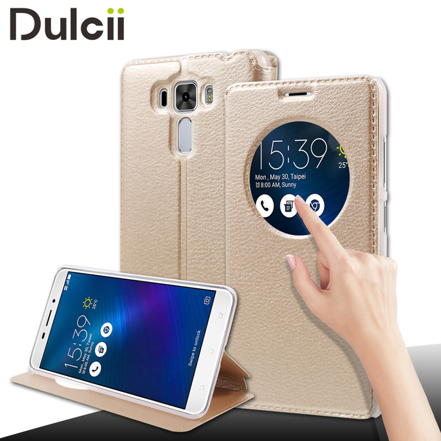 DULCII coque for Asus Zenfone 3 Laser ZC551KL Cases Hollow View Window Smart Leather Stand Cover for Asus Zenfone 3 Laser capa