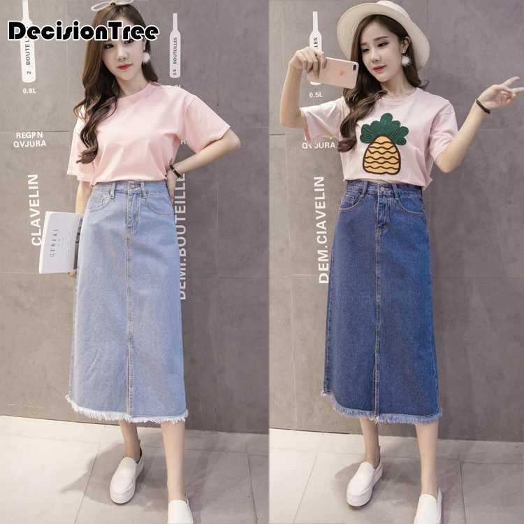 e5e927b6bfaa9 ... 2019 new high waist suspender school girl skirt ladies front button  jeans midi maxi denim skirt ...
