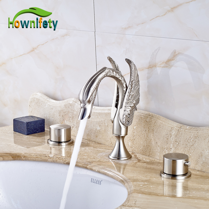 цена на Widespread 3pcs Bathroom Sink Faucet Double Handles Waterfall Spout Mixer Tap Solid Brass Nickel Brushed