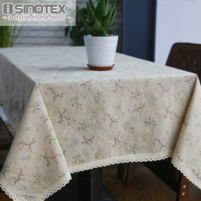 Fashion Dandelion Linen Table Cloth Country Style Flower Print  Multifunctional Rectangle Table Cover Tablecloth With Lace