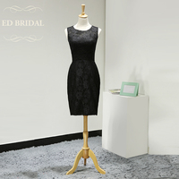 Illusion Neckline Straight Fitted Lace Cocktail Party Dress Little Black Dress Women Short Party Gown