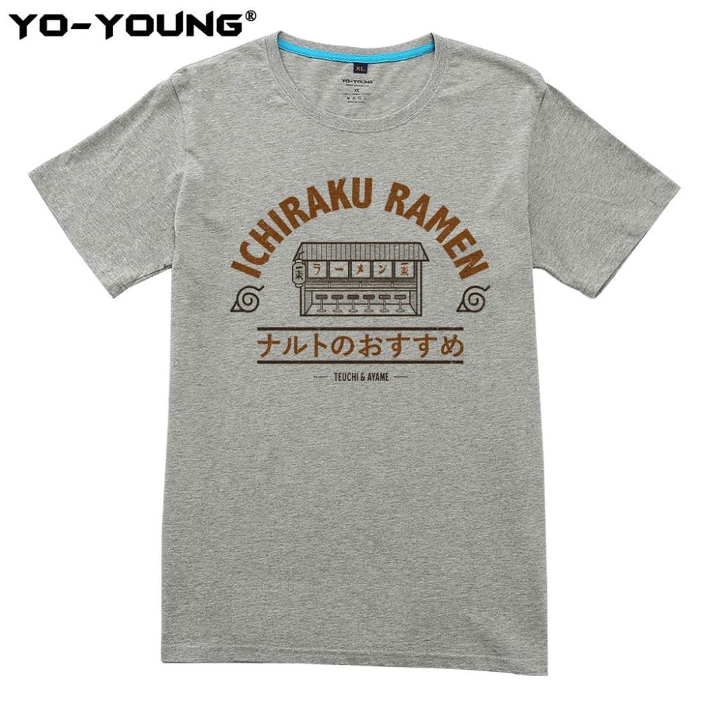 Anime Naruto Ichiraku Ramen Camisetas Hombre Impresión Digital 100% 180 gsm Algodón Peinado Camiseta Casual Homme Personalizado