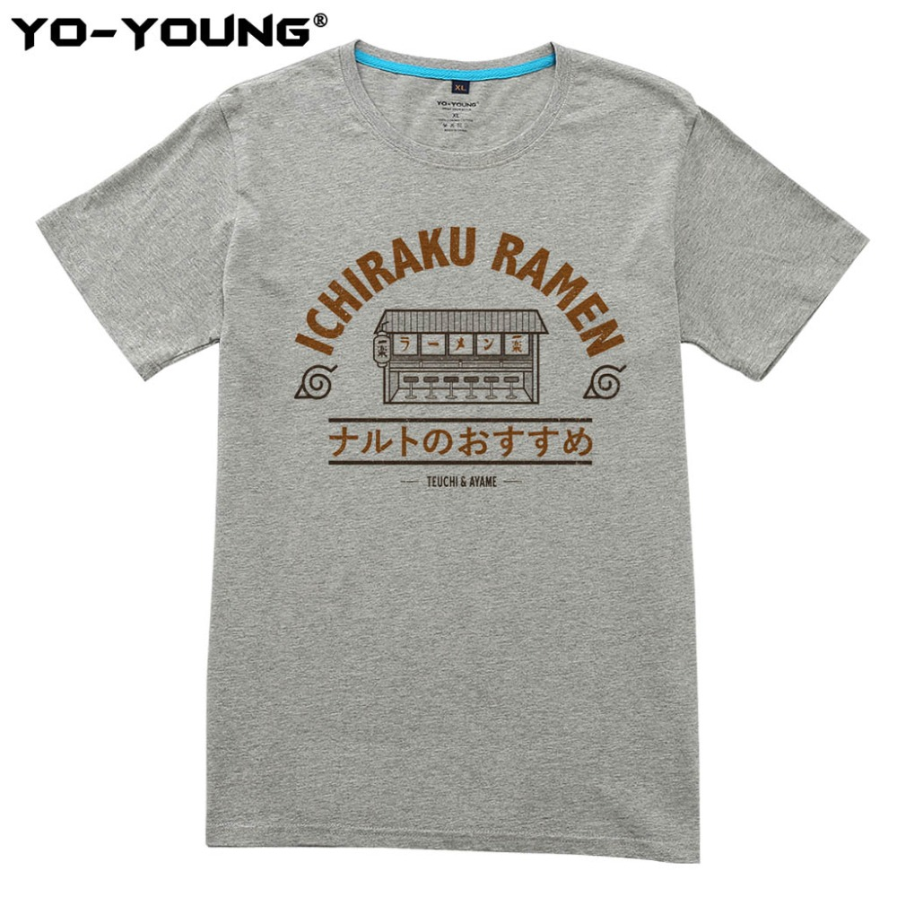 Anime Naruto Ichiraku Ramen T Shirts Men Digital Printing 100% 180 gsm Combed Cotton Casual Tee Shirt Homme Customized