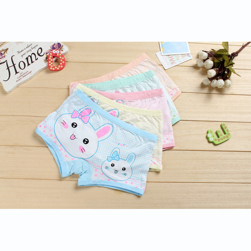 Girl underwear Free shipping new arrived kids character rabbit boxer short animal children 95%modal panties 5pcs/lot 1-10year